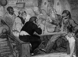 Sailors telling tales belowdecks, c.1810. CharlesNapier Robinson