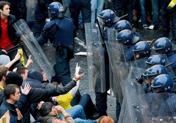 The state rolls out it men in baton to beat up unarmed students last Nov
