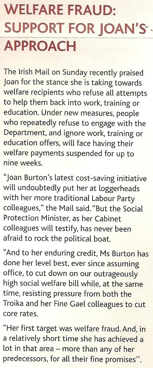 Text from Burton's summer newsletter, basking in the light of right wing Daily Mail commentary supporting her right wing populism