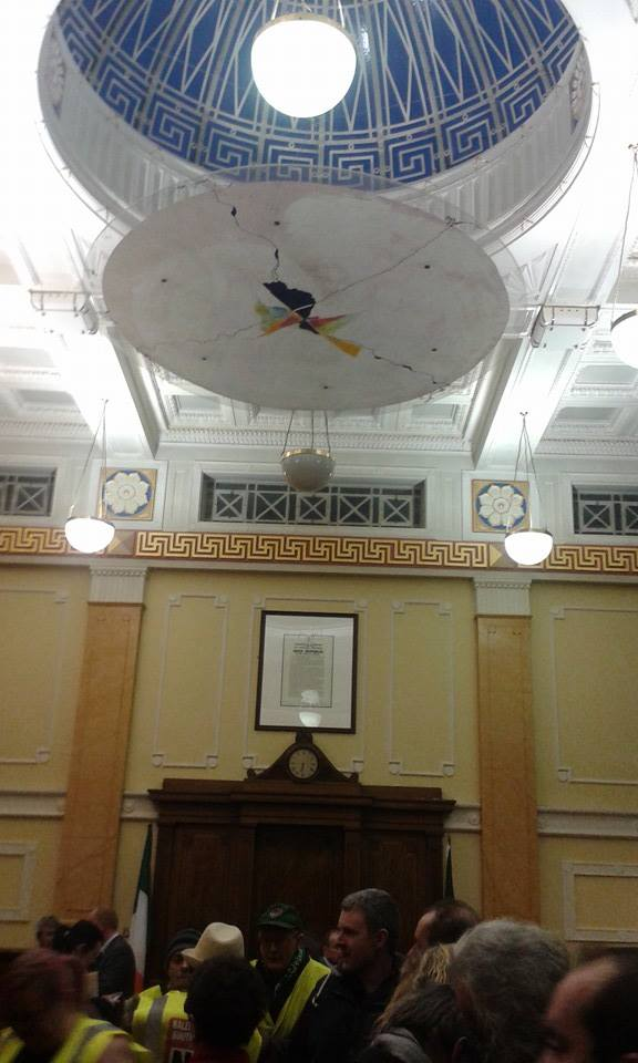 Photo of occupation in Cork City Hall, proclamation on the wall  Thanks to Páidí Ó Madáin