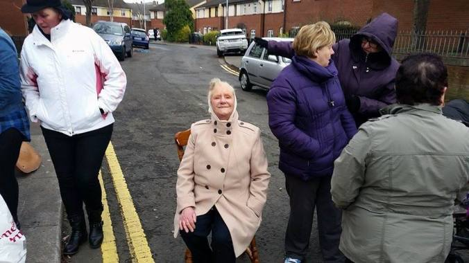 Seventy seven year old Ms. O'Neill joins her neighbours on the blockade of Irish Water at Montpelier Drive. H/T Stoneybatter Against the Water Tax
